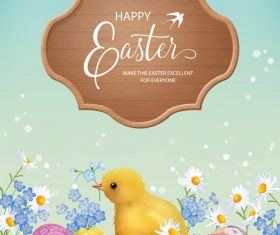 Easter background with wooden board vector 03