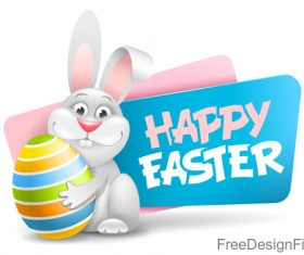 Easter banners with egg and rabbit vector