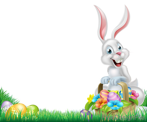 Easter bunny basket with white background vector