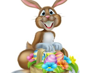 Easter bunny funny illustration vector 02