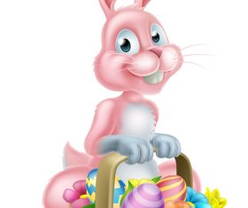 Easter bunny funny illustration vector 03