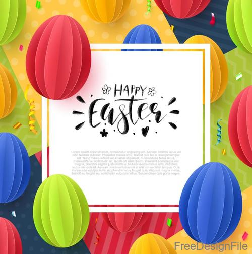 Easter card with colored paper balloons vector