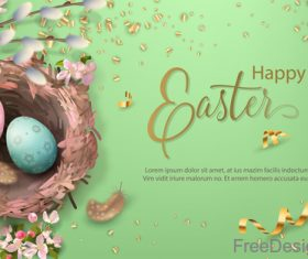 Easter card with golden confetti design vector