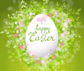 Easter card with green leaves background vector 01