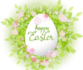 Easter card with green leaves background vector 02