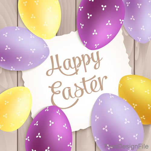 Easter card with wood wall background vector