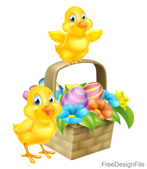 Easter chick basket with white background vector