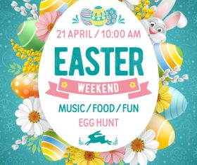 Easter club poster template vector
