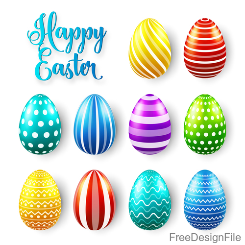Easter egg colorful vector material 09