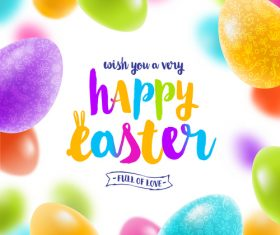 Easter egg frame with blurs background vector