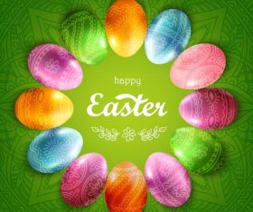 Easter egg frame with green easter background vector