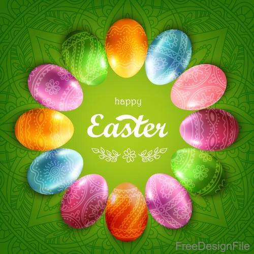 Easter egg frame with green easter background vector