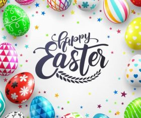 Easter egg frame with white background vector