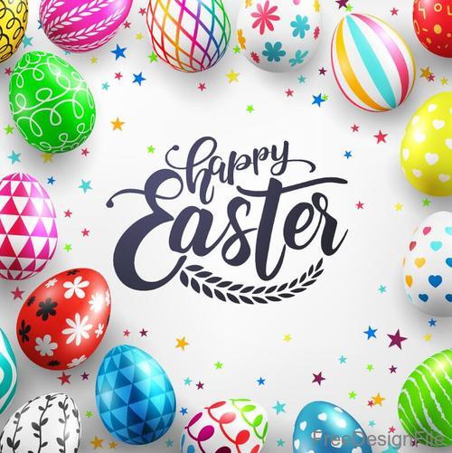 Easter egg frame with white background vector