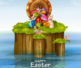 Easter egg hunt design with water vector