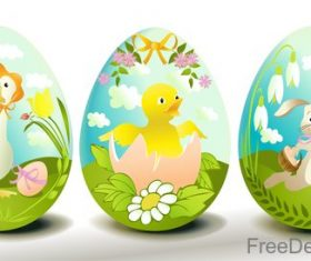 Easter egg with cute animal vector