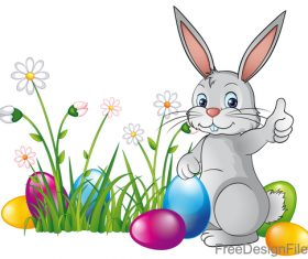 Easter egg with flower and cartoon rabbit vector 03