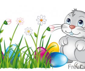 Easter egg with flower and cartoon rabbit vector 01