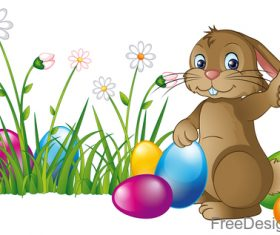Easter egg with flower and cartoon rabbit vector 04