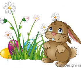 Easter egg with flower and cartoon rabbit vector 02