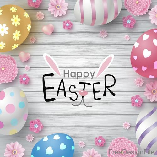 Easter egg with flower decor and wood background vector