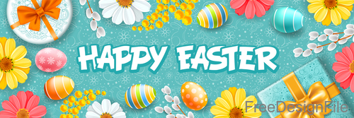 Easter egg with gift boxs and flower vector