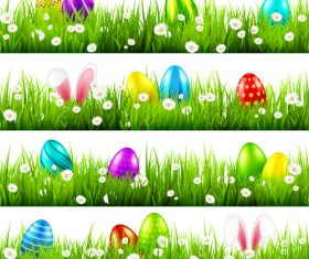 Easter egg with green grass borders vector set 01