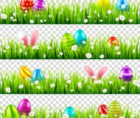 Easter egg with green grass borders vector set 02