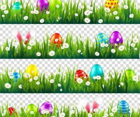 Easter egg with green grass borders vector set 03