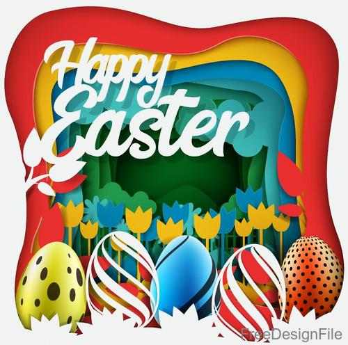 Easter egg with paper vector