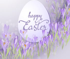 Easter egg with purple flower hand drawn vector 01