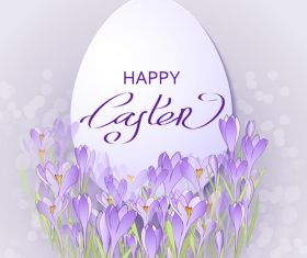 Easter egg with purple flower hand drawn vector 02