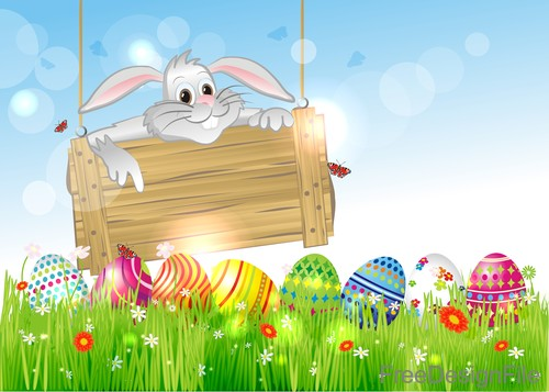 Easter egg with wood sign with rabbit vector