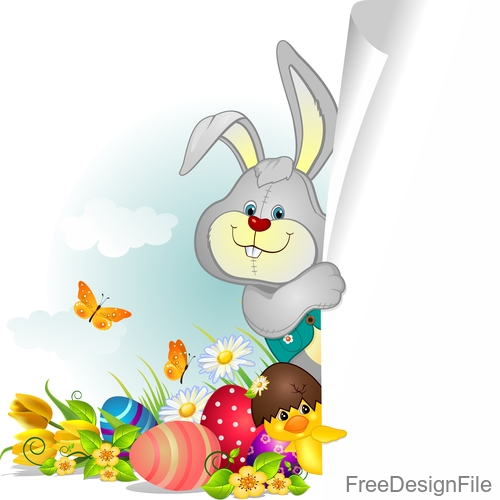 Easter elements design with blank paper vector 01