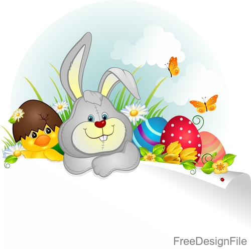 Easter elements design with blank paper vector 02