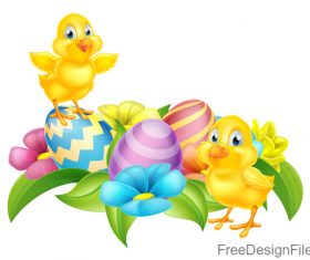 Easter floral chick eggs vector