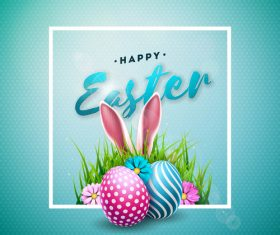 Easter frame with blurs background vector