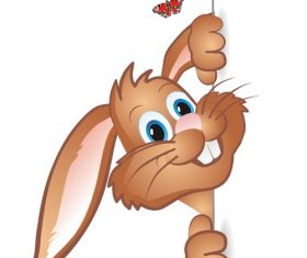 Easter funny rabbit illustration vector 01
