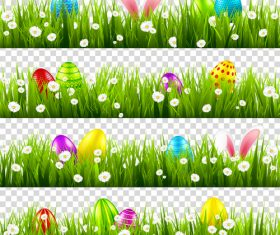 Easter green grass borders vector illustration 01