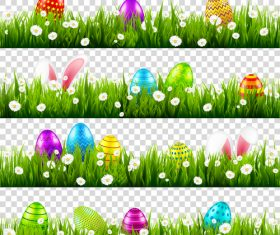 Easter green grass borders vector illustration 02