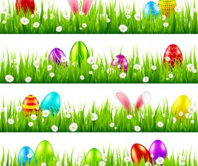Easter green grass borders vector illustration 03