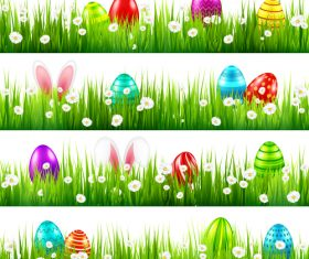 Easter green grass borders vector illustration 04