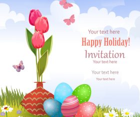 Easter holiday invitation vectors