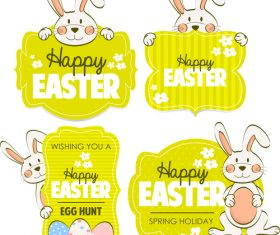 Easter labels with cute rabbit vector