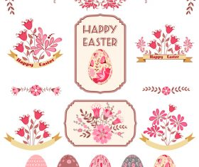 Easter labels with easter egg vector