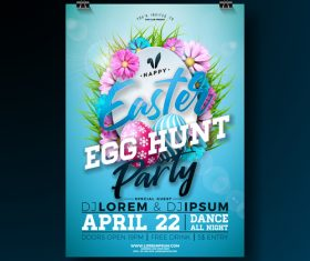 Easter party flyer with poster template vector 01