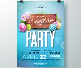 Easter party flyer with poster template vector 02
