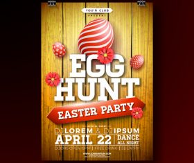Easter party flyer with poster template vector 03