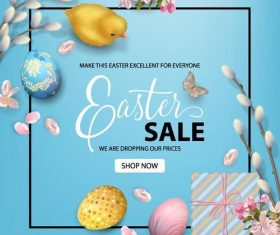 Easter sale poster template vectors material