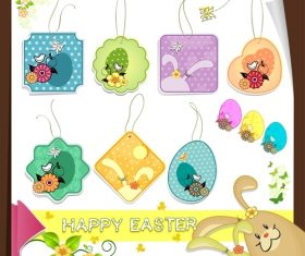 Easter tags cute design vector